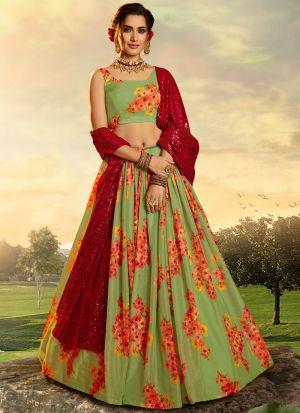 Fancy Digital Print Green Party Wear Lehenga Choli With Dupatta