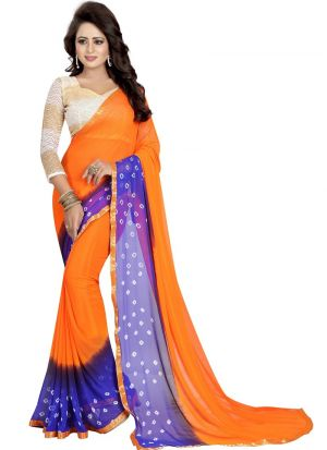 Fanta And Blue Chiffon Designer Bandhani Saree
