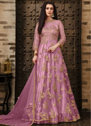 Festive Collection Baby Pink Designer Anarkali Long Salwar Suit