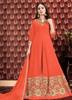 Festive Collection Orange Designer Floor Length Suit
