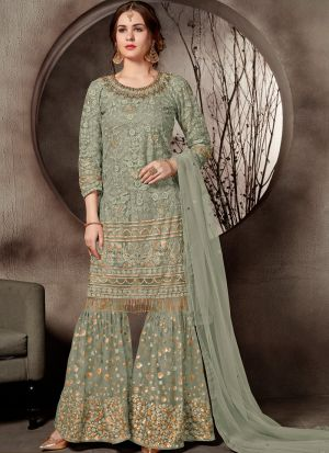 Festive Collection Sage Color Designer Sharara Suit