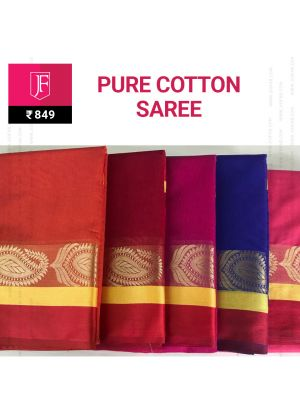 Festive Pure Cotton Jaquard Zari Border Saree With Chit Pallu