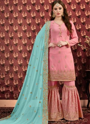 Festive Special Baby Pink Designer Sharara Suit