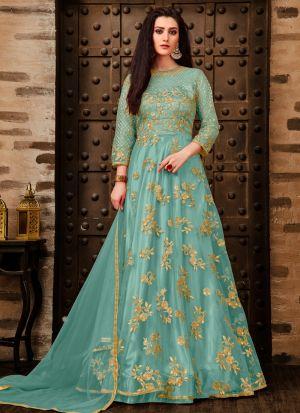 Festive Special Sky Blue Designer Anarkali Long Salwar Suit