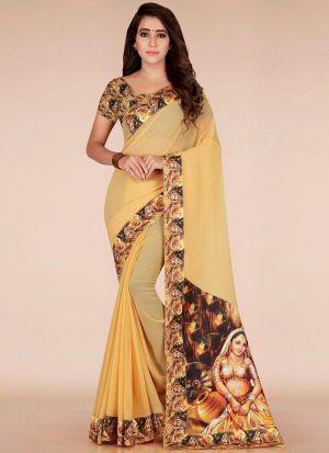 Festive Wear Diwali Collection Orange Printed Cotton Silk Saree