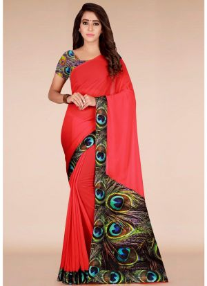 Festive Wear Diwali Collection Red Printed Georgette Saree