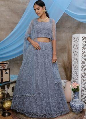 Festive Wear Grey Thread Embroidered Net Lehenga Choli