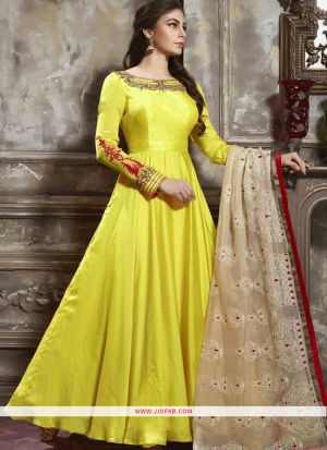 Festive Wear Light Yellow Satin Silk Gown For Festival