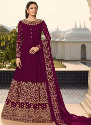 Festive Wear Magenta Faux Georgette Floor Length Salwar Kameez