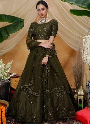 Festive Wear Olive Net Lehenga Choli For Mehendi