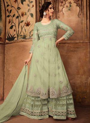 Festive Wear Parrot Heavy Net Palazzo Style Salwar Suit