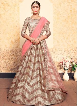 Festive Wear Satin Tortilla Brown Designer Lehenga Choli