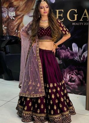 Flattering Thread Work Wine Velvet Lehenga Choli