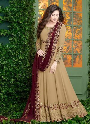 Foux Georgette Cream Designer Floor Lenth Salwar Suit
