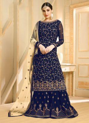 Foux Georgette Navy Designer Beautiful Design Party Wear Latest Salwar Suit Eid Collection