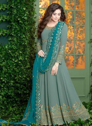 Foux Georgette Sage Color Designer Floor Lenth Salwar Suit