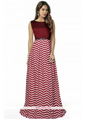 G 63 Zigzag Maroon New Designer Western Gowns For Women