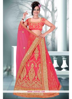 Gajari Heavy Net Stiched Lehenga