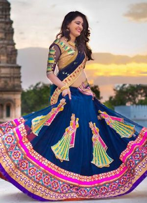 Georgette Blue And Pink Partywear Designer Lehenga With Hand Work