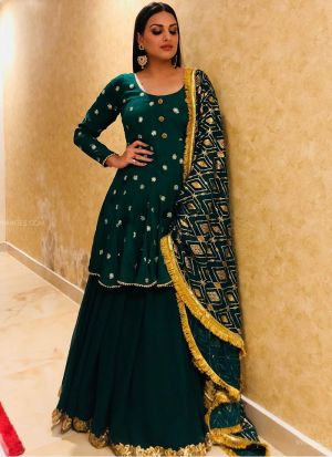 Georgette Dark Green Lehenga Style Salwar Suit