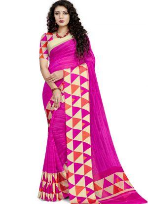 Georgette Dark Pink Ceremonial Trendy Saree