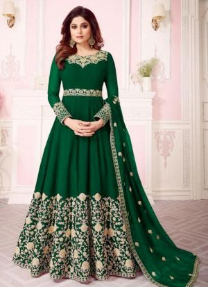 Georgette Green Designer Shamita Shetty Floor Length Salwar Suit