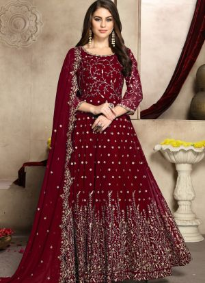 Georgette Maroon Party Wear Anarkali Suit