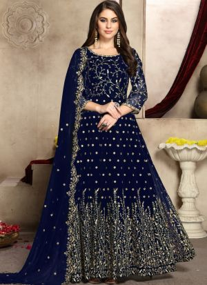 Georgette Navy Admire Anarkali Suit