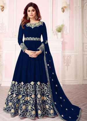 Georgette Navy Designer Shamita Shetty Floor Length Salwar Suit