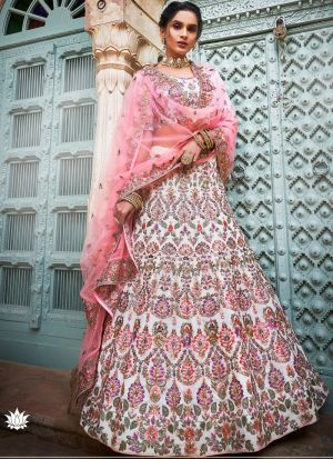 Georgette Off White Indian Lehenga Choli For Wedding