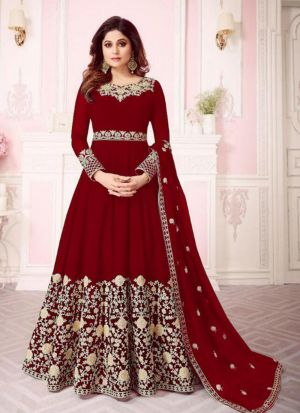 Georgette Red Designer Shamita Shetty Floor Length Salwar Suit