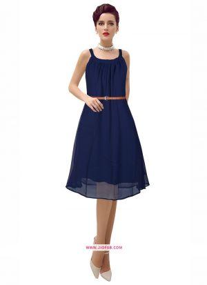 Georgette Western Wear Frock In Blue Color