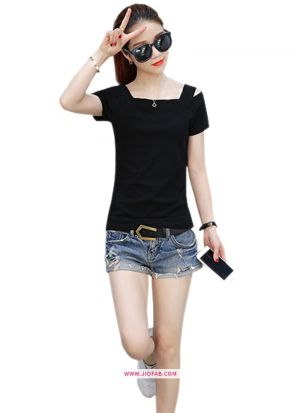 Girls Latest Trendy High Quality Fashionable Tipsy Black T Shirt