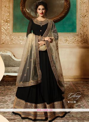 Glossy 9086 Black Georgette Embroidered Designer Salwar Suit
