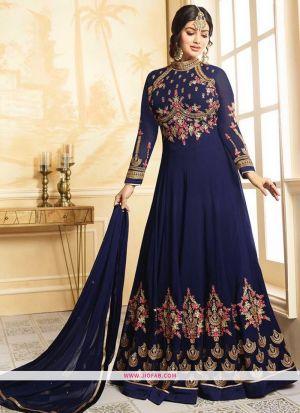 Glossy Simar 9010 Navy Foux Georgette Wedding Anarkali Salwar Suit