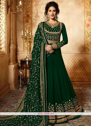 Glossy Simar 9085 Green Georgette Embroidered Designer Salwar Suit