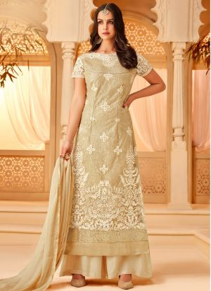 Gold Net Embroidered Staraight Pakistani Salwar Kameez For Eid