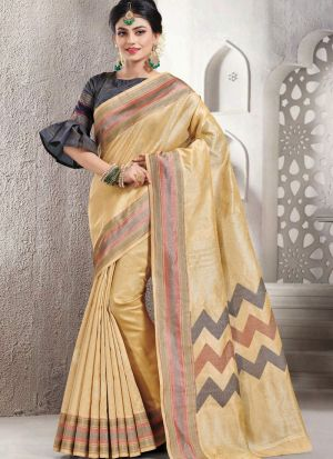 Gorgeous Beige Designer Handloom Silk Saree