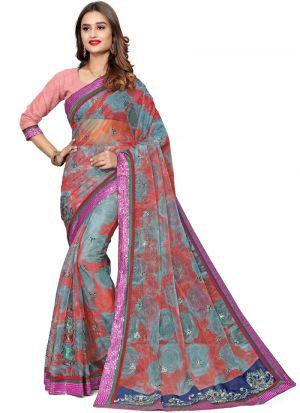 Gorgeous Multi Color Bemberg Saree
