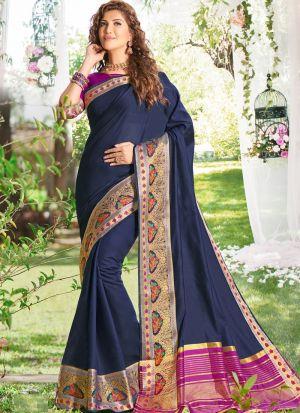 Graceful Navy Festive Wear Khadi Silk Saree