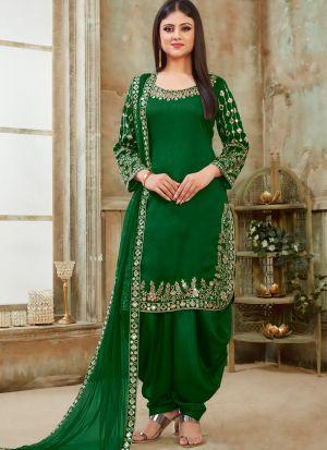 Green Art Silk Traditional Patiala Salwar Suit