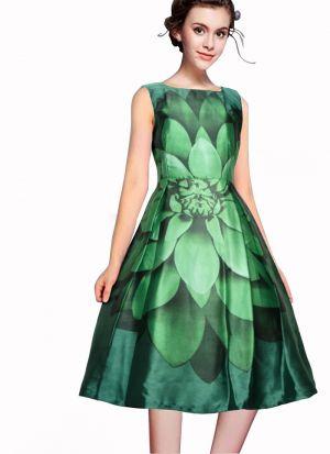 Green Color A Line Dress