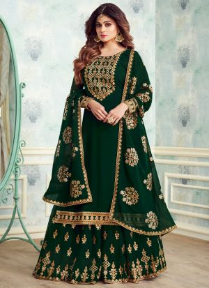 Green Color Georgette Embroidered Skirt Kameez