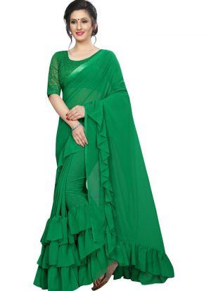 Green Color Raksha Bandhan Special Ruffle Sarees Collection