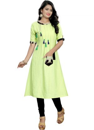 Green Cotton Attractive Hand Work Stylish Pocket Kurti