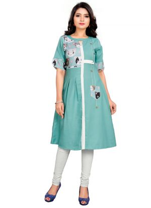 Green Cotton Printed Coolest Kurti