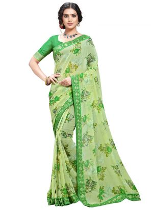 Green Designer Floral Print Georgette Saree