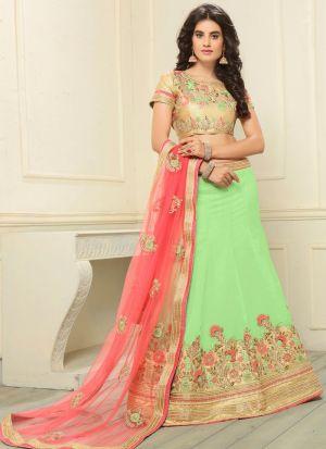 Green Designer Wedding Lehenga Choli With Banglori Silk Fabric