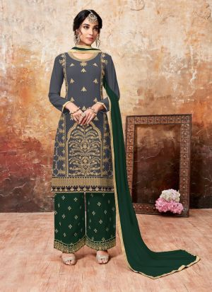 Green Foux Georgette Designer Palazzo Style Salwar Suit With Heavy Work