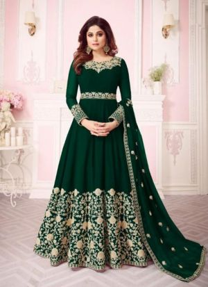 Green Georgette Embroidered Floor Length Anarkali Suit